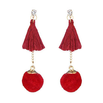 Tip Top Fashions Gold Plated Red Thread Earrings - 1310917B