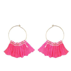 Tip Top Fashions Gold Plated Pink Thread Earrings - 1310921B