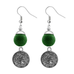 Tip Top Fashions Green Thread Silver Plated Dangler Earrings - 1310944D