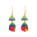 Jeweljunk Multicolor Gold Plated Thread Earrings