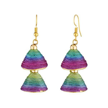 Tip Top Fashions Multicolor Thread Gold Plated Earrings - 1309016N