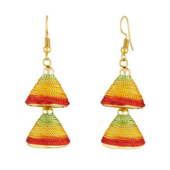 Tip Top Fashions Multicolor Gold Plated Thread Earrings - 1309016P