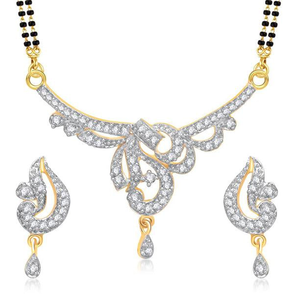 Morini Gold Plated American Diamond Mangalsutra Set - 1500607