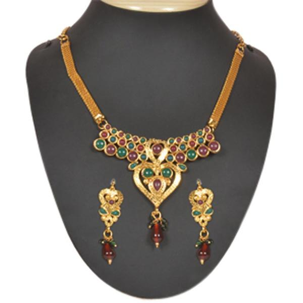 The99Jewel Green & Maroon Pota Stone Necklace Set