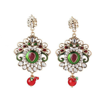 The99Jewel Kundan  Stone Red Meenakari Dangler Earrings