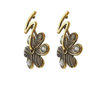 The99Jewel Antique Gold Plated Dangler Earrings - 1306514