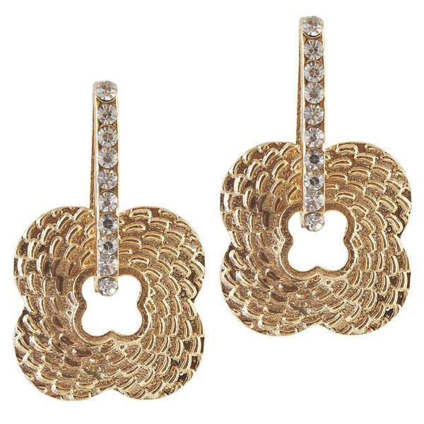 The99Jewel Stone Gold Plated Dangler Earring - 1306605