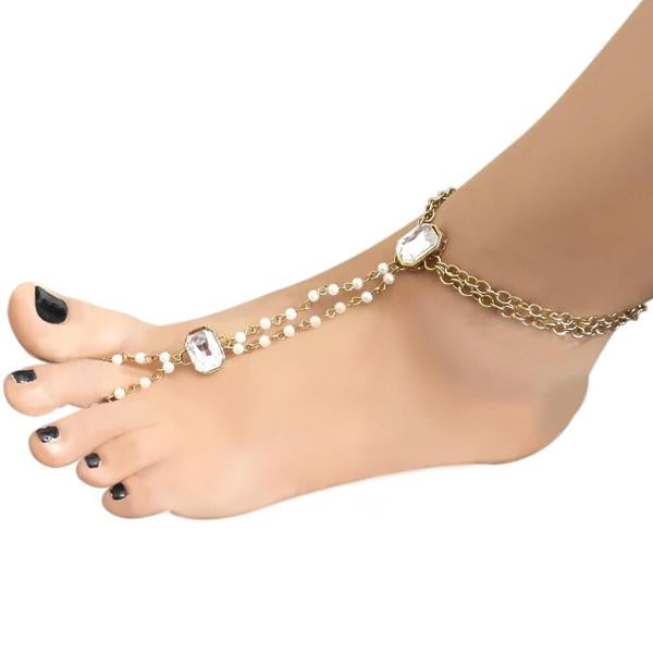 Apurva Pearls Glass Stone & Pearl Chain Single Anklet - 1503101