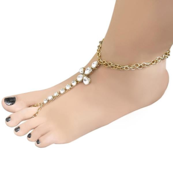 Apurva Pearls Glass Stone Chain Single Anklet - 1503105