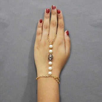 Tip Top Fashions Austrian Stone And Pearl Hand Harness - 1503112
