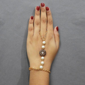 Tip Top Fashions Austrian Stone And Pearl Hand Harness - 1503117