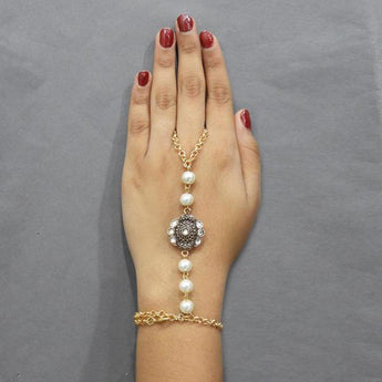 Tip Top Fashions Austrian Stone And Pearl Hand Harness - 1503125