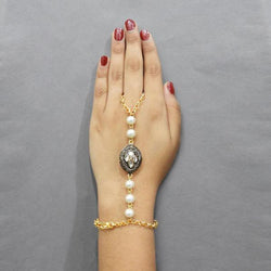 Tip Top Fashions Austrian Stone And Pearl Hand Harness - 1503126