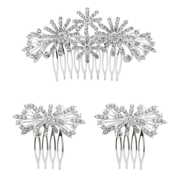 Tip Top Fashions Stone Silver Plated Hair Brooch - 1502046A