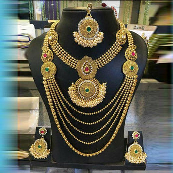 Sai Raj Stone Double Necklace Set With Maang Tikka