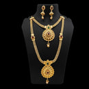 Sai Raj Gold Plated Pota Stone Double Necklace Set