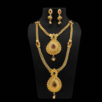 Sai Raj Pota Stone Gold Plated Double Necklace Set - FAP0125