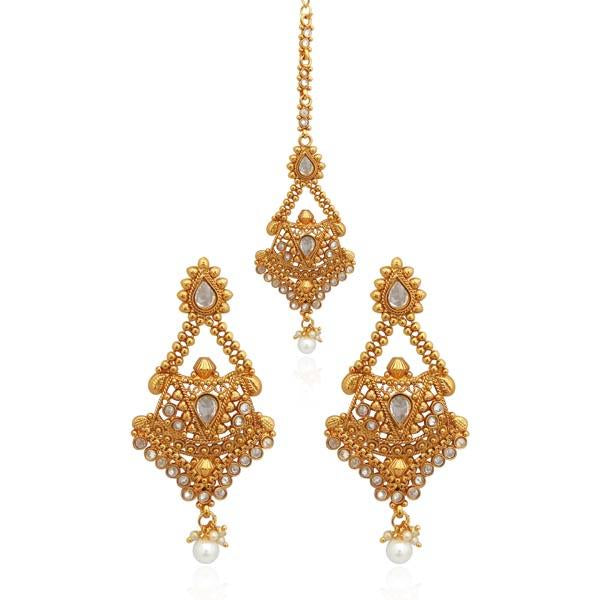 Sai Raj AD Stone Copper Dangler Earrings - FAP0162