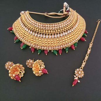 Sai Raj AD Stone Choker Copper Necklace Set With Maang Tikka - FAP0178B