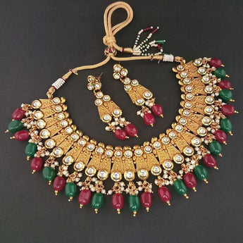 Real Creation Kundan Stone Copper Necklace Set - FBB0131A