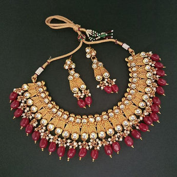 Real Creation Kundan Stone Copper Necklace Set - FBB0131C