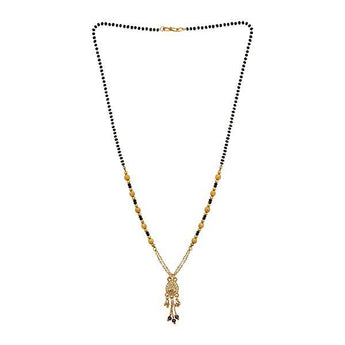 Kriaa White Austrian Stone And Black Beads Gold Plated Mangalsutra