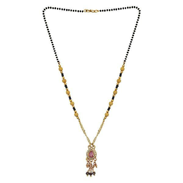 Kriaa Pink And White Austrian Stone And Black Beads Gold Plated Mangalsutra
