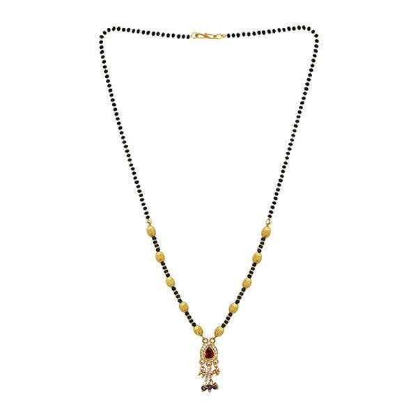 Kriaa Red And White Austrian Stone And Black Beads Gold Plated Mangalsutra