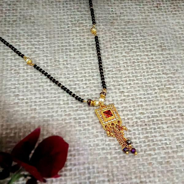 Kriaa Maroon And White Austrian Stone And Black Beads Gold Plated Mangalsutra