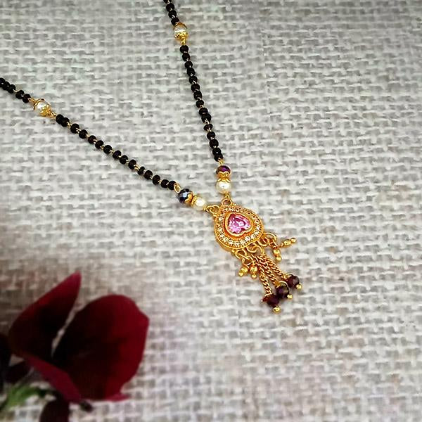 Kriaa Pink And White Austrian Stone Gold Plated Heart Shape Mangalsutra