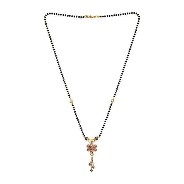 Kriaa Pink Austrian Stone Gold Plated Black Beads Mangalsutra