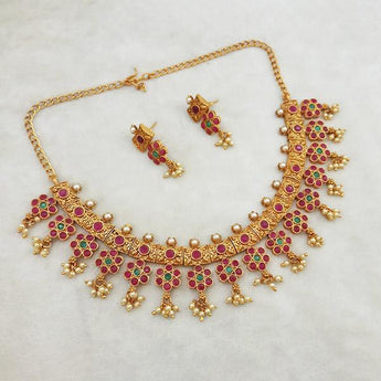 Shubham Maroon And Green Pota Stone Copper Necklace Set - FBK0028A