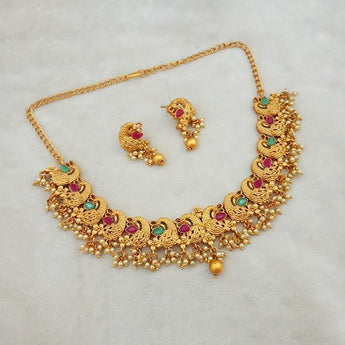 Shubham Maroon And Green Pota Stone Copper Necklace Set - FBK0030A