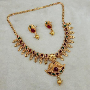 Shubham Maroon And Green Pota Stone Copper Necklace Set -FBK0036A