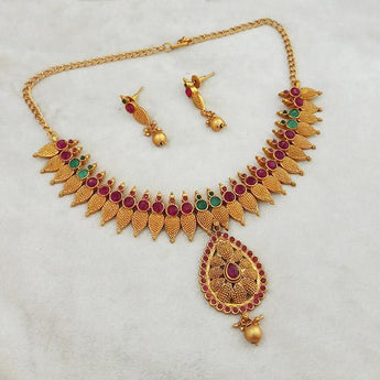 Shubham Maroon And Green Pota Stone Copper Necklace Set - FBK0068A