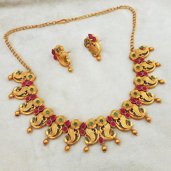 Shubham Maroon And Green Pota Stone Copper Necklace Set - FBK0072A