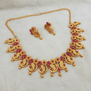 Shubham Maroon Pota Stone Copper Necklace Set - FBK0072B