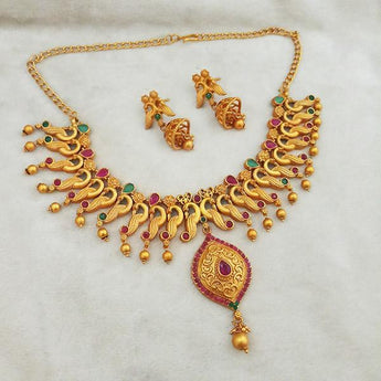 Shubham Maroon And Green Pota Stone Copper Necklace Set - FBK0074A