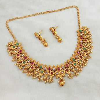 Shubham Maroon And Green Pota Stone Copper Necklace Set - FBK0076A