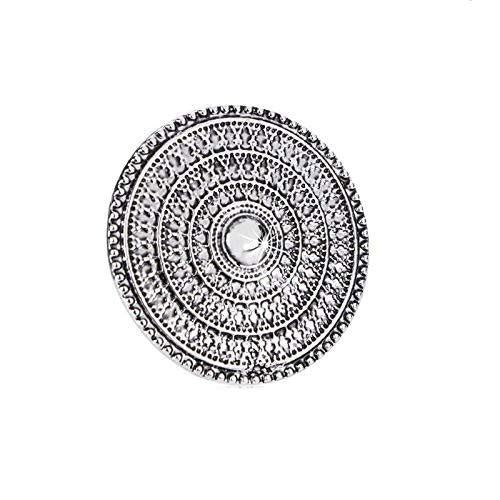 I Jewels Indian Traditional Antique Boho Vintage Grey Oxidized Silver Adjustable Ring for Women ( FL136)