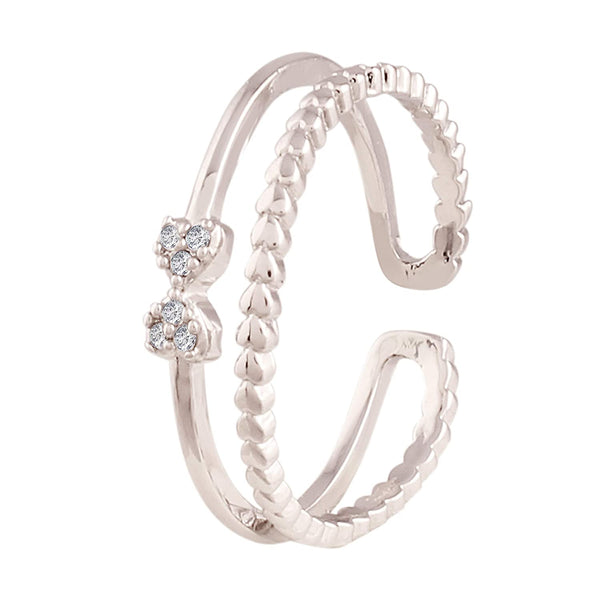 I Jewels Silver Plated  CZ Adjustable Ring for Women ( FL140)