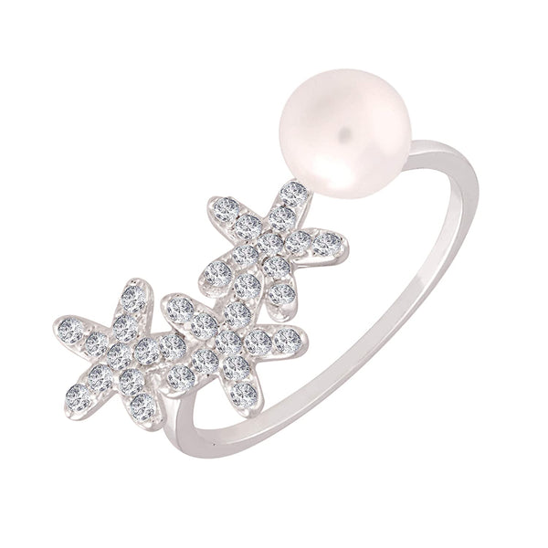 I Jewels Silver Plated  CZ Pearl Adjustable Ring for Women ( FL141)
