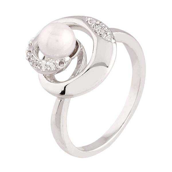 I Jewels Silver Plated  CZ Pearl Ring for Women ( FL142)