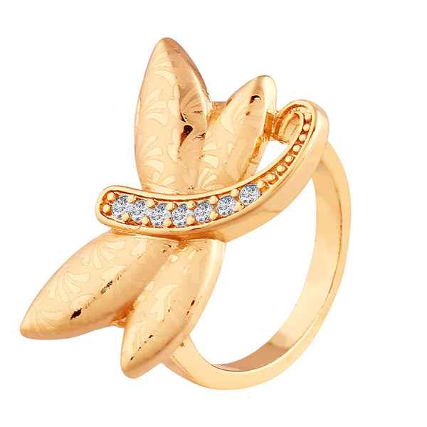 I Jewels Gold Plated  CZ Butterfly Ring for Women ( FL144)