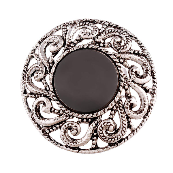 I Jewels Indian Traditional Antique Boho Vintage Oxidized Silver Adjustable Navratri Mirror Ring for Women ( FL146)