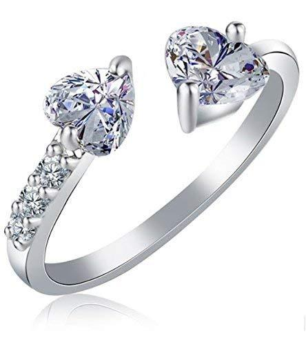 I Jewels Silver Plated Elegant Classy CZ Crystal Adjustable Designer Ring for Women and Girls ( FL161)