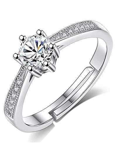 I Jewels Silver Plated Elegant Classy CZ Crystal Adjustable Designer Ring for Women and Girls ( FL163)