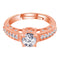 I Jewels Rose Gold Plated Elegant CZ American Diamond Adjustable Ring For Women (FL178RG)