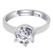 I Jewels Silver Plated Elegant CZ American Diamond Adjustable Ring For Women (FL179)