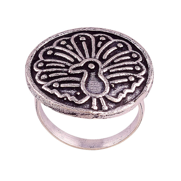 I Jewels Silver Oxidized Adjustable Peacock Ring for Women ( FL22)